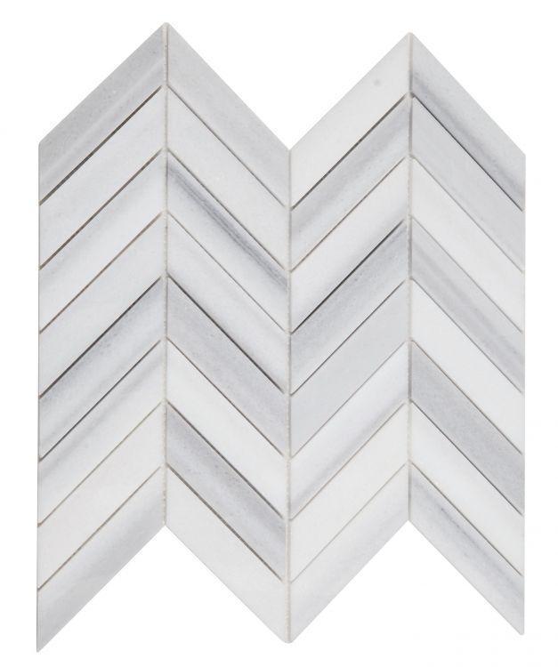 Chevron Herringbone Marmala White Honed Marble  Mosaic
