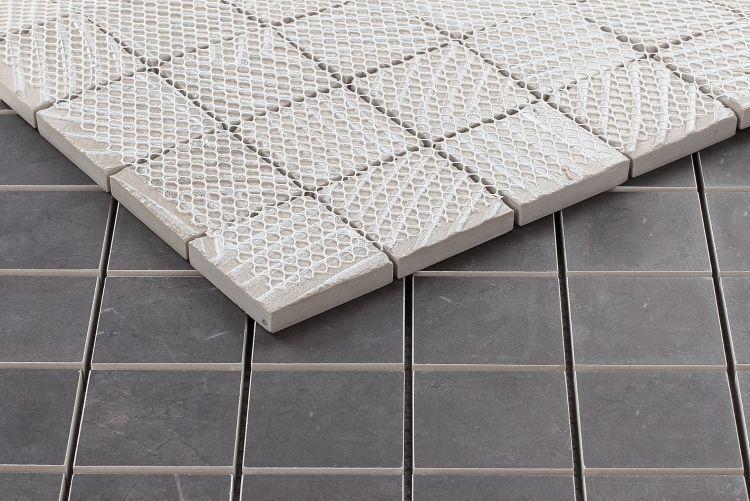 Lava Dark Grey 2x2 Square Matte, Glazed Porcelain  Mosaic