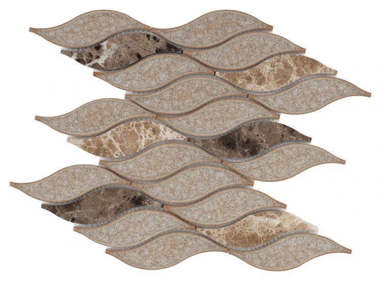Pontus Cappuccino Wavy  Glass  Mosaic