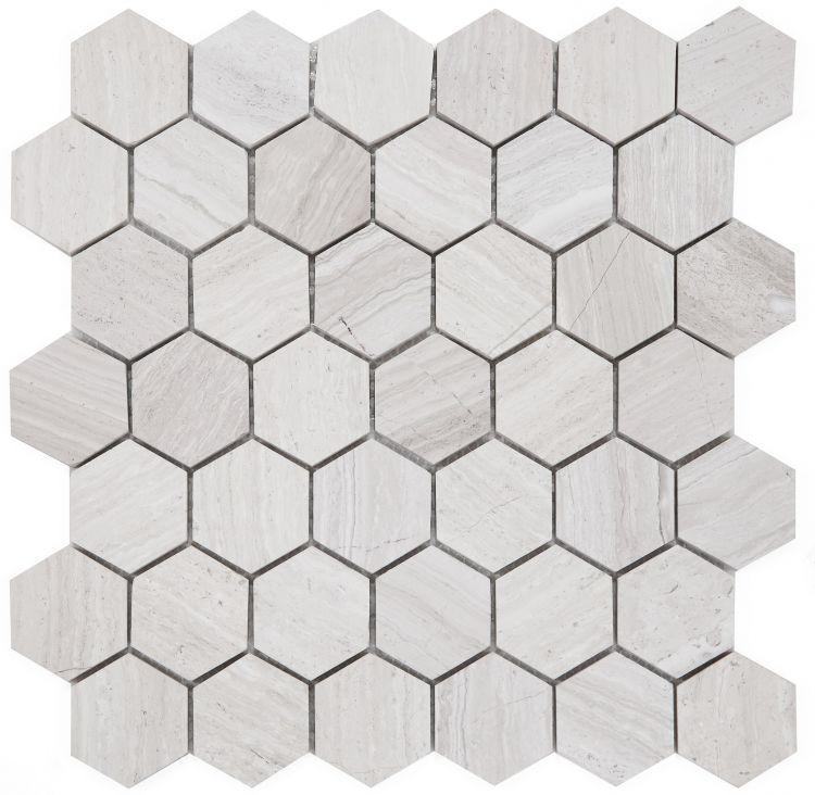 Hexagon Grey 2x2  Honed Marble  Mosaic