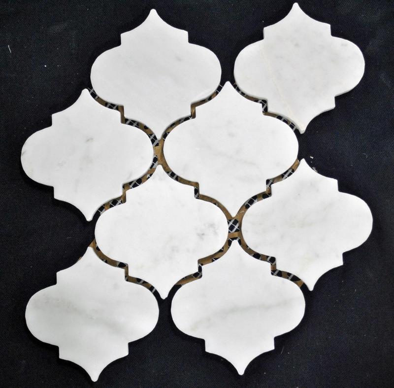 Marble Carrara White Moraccon 4 in  Polished   Mosaic