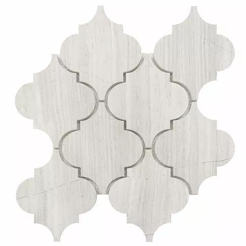 Waterjet Stone Mosaic White Oak 5x6 Arabesque Honed Marble