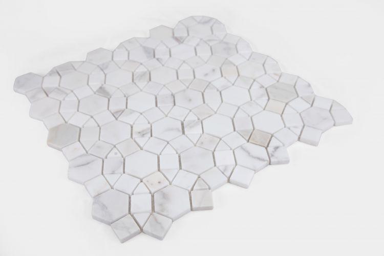 Aether Calacatta Circular Honed Marble  Mosaic
