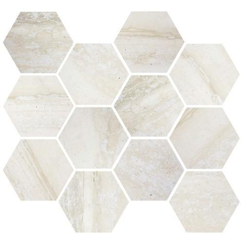Nova Moderne Bone 3.25 in Hexagon Glazed Porcelain  Mosaic