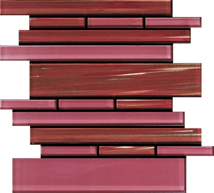 Linear Glass Wild Rose Stacked    Mosaic
