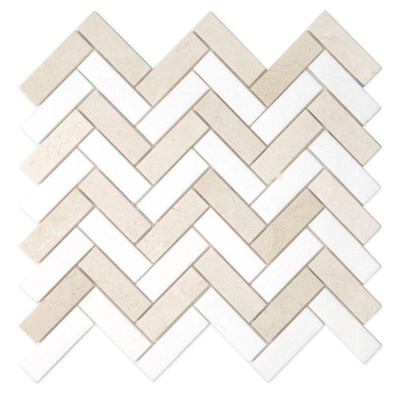 Chevron Herringbone Marfil Polished Marble  Mosaic