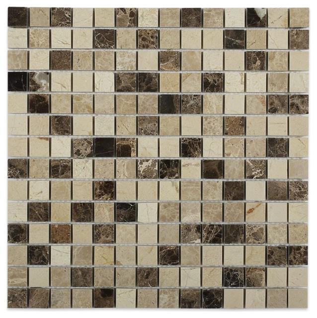 Marble Spanish Mix Crema Marfil Emperador Dark Light 0.63x0.63 Square Polished   Mosaic