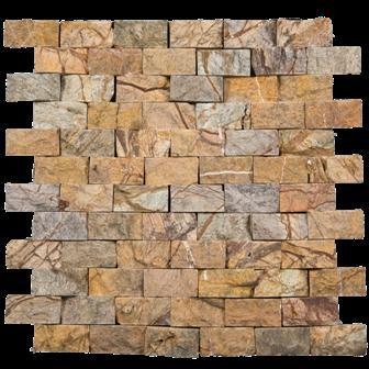 Marble Rain Forest Brown 1x2 Brick Split-Face   Mosaic (Discontinued)