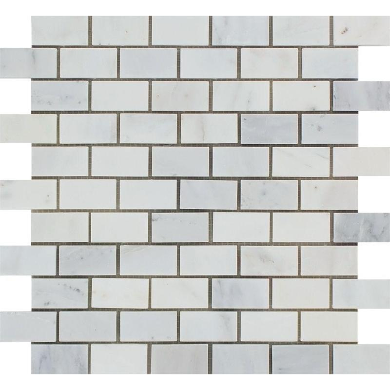 Marble Oriental White 1x2 Brick Polished   Mosaic
