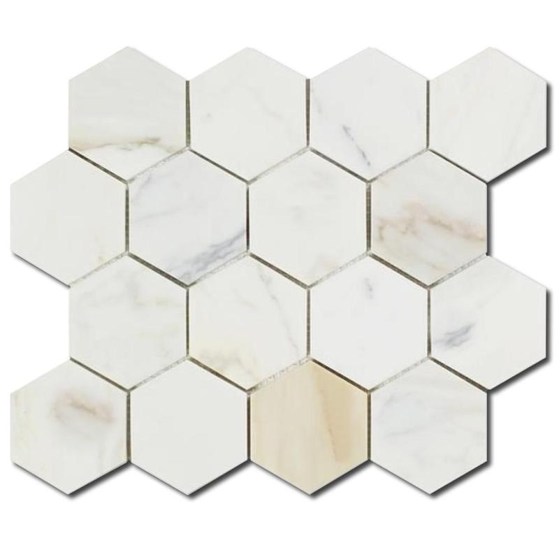 Calacatta Gold 3x3 Hexagon Honed Marble  Mosaic