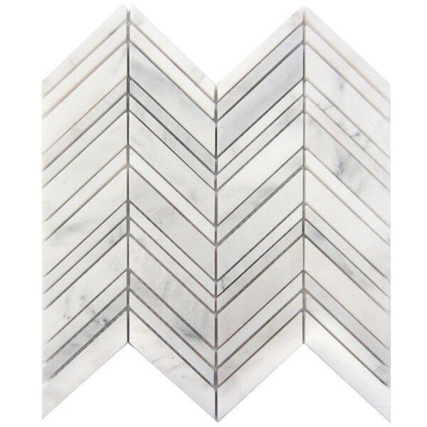 Marble Chevron Mix W Thin Oriental White Strips Polished   Mosaic