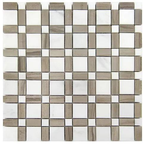 Stone Mosaic Athens Grey And Oriental White Honed Marble