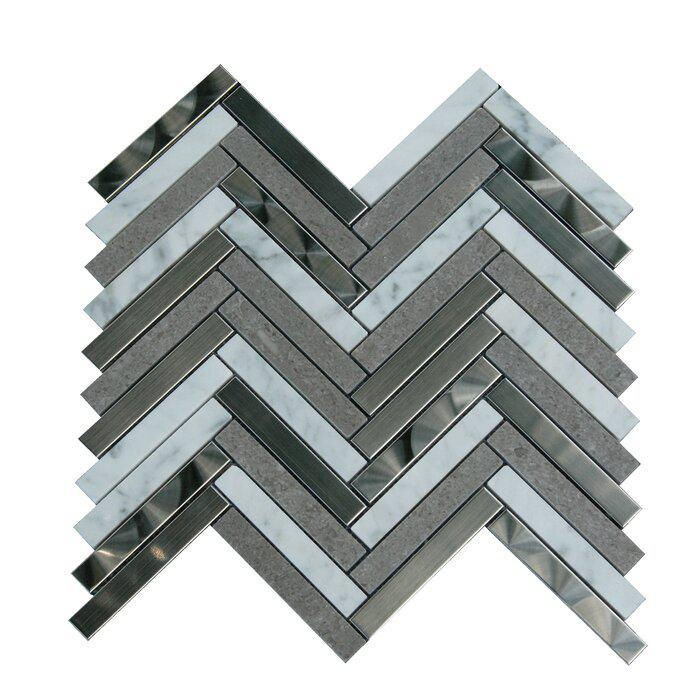 Stainless Steel Mosaic Carrara White Gray Marble 5/8x3 Herringbone