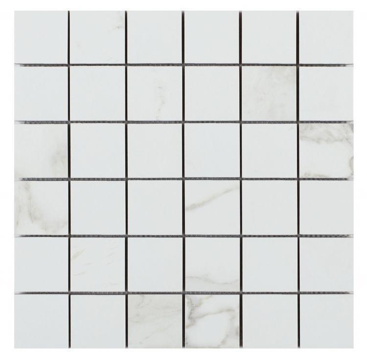 Calacatta Dorado 2x2 Square Glazed, Matte Porcelain  Mosaic