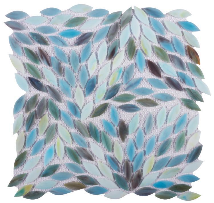 Newport Blue Leaf  Glass  Mosaic