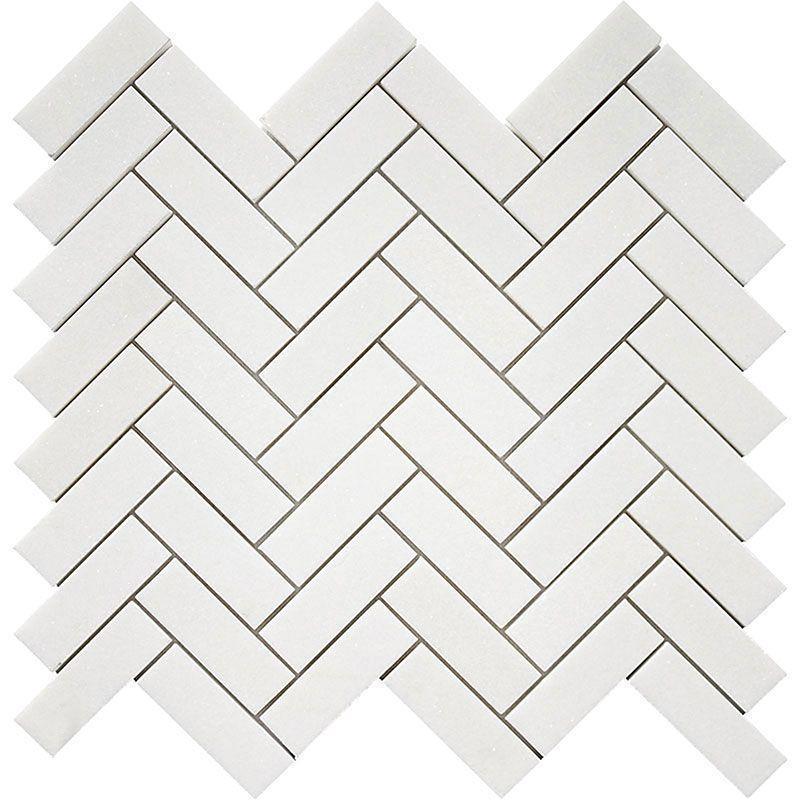 Thassos White Greek Marble 1x3 Herringbone Polished   Mosaic