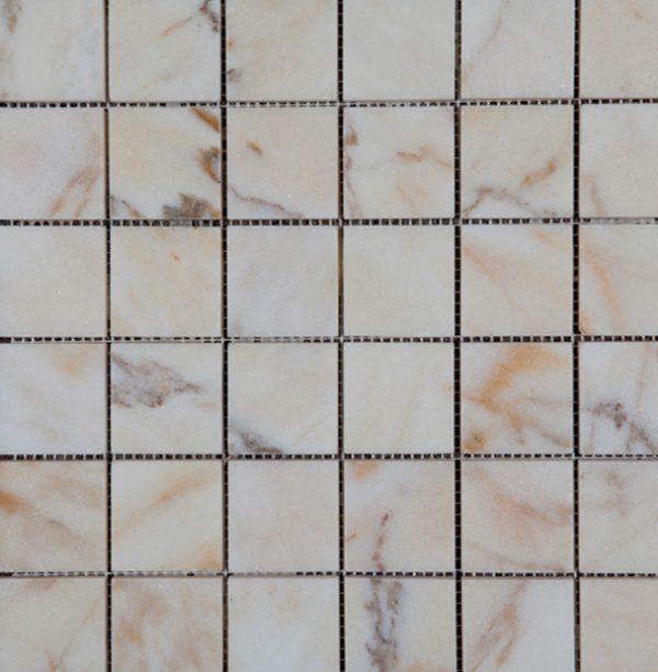 Marble Bianco Venato 1x1 Square Tumbled   Mosaic