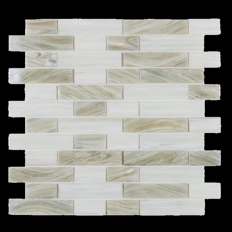 Hot Inari White Linear, Stack  Glass  Mosaic