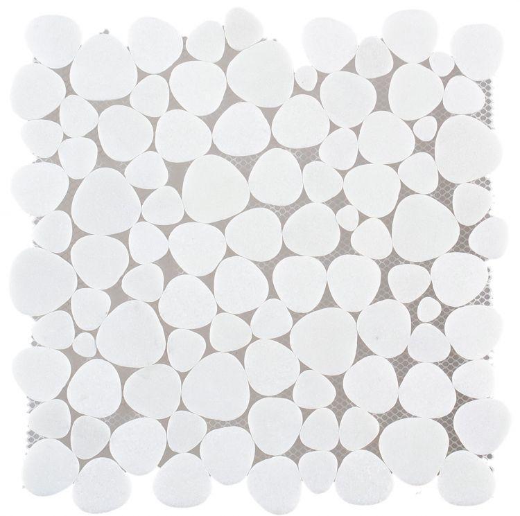 Aphrodite Thassos Pebble Honed Marble  Mosaic