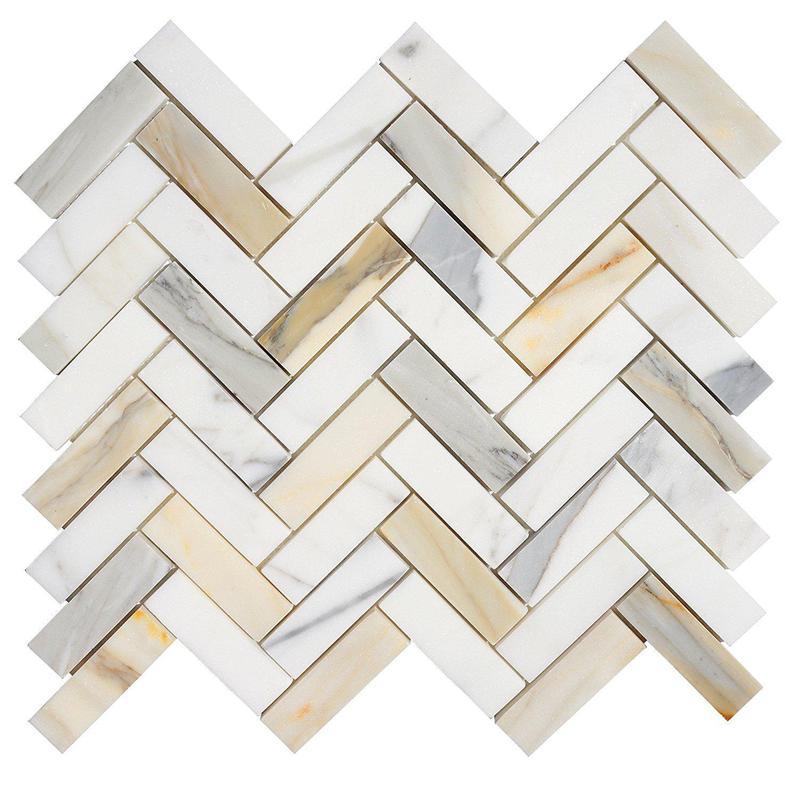 Marble Calacatta Gold 1x3 Herringbone Polished   Mosaic