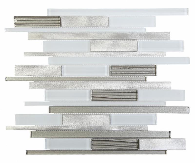 Alumix White Linear Glossy, Matte Mixed  Mosaic