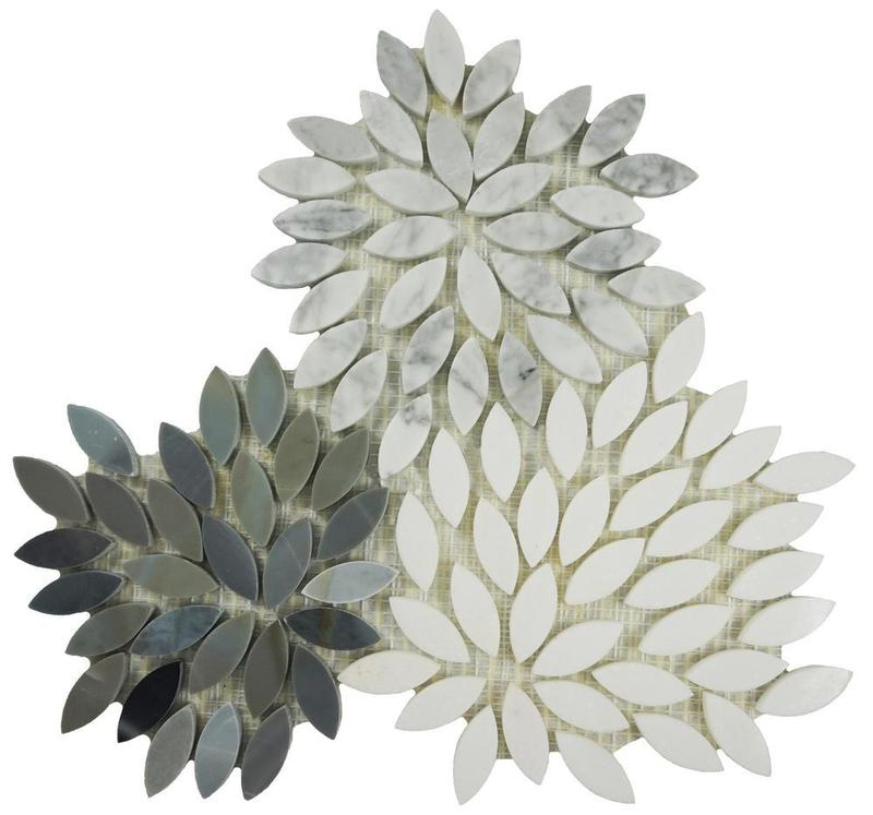 Ornate Leaf Honed Natural Stone  Mosaic