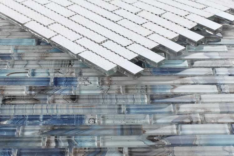 Shell Blue Linear Glossy Glass  Mosaic