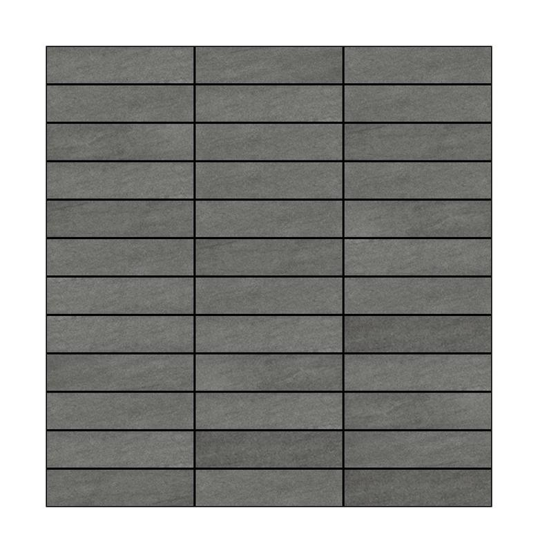 Basalt Grey 1x4 Stacked Honed Limestone  Mosaic (Special Order)