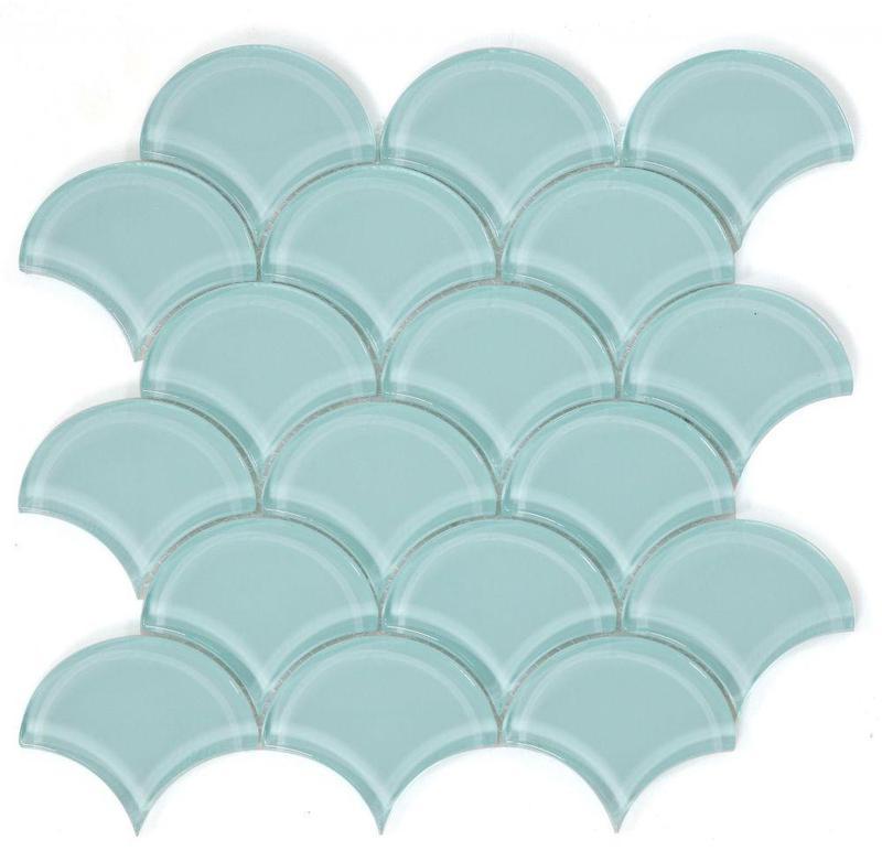 Dragon Scale Mint Glossy Glass  Mosaic