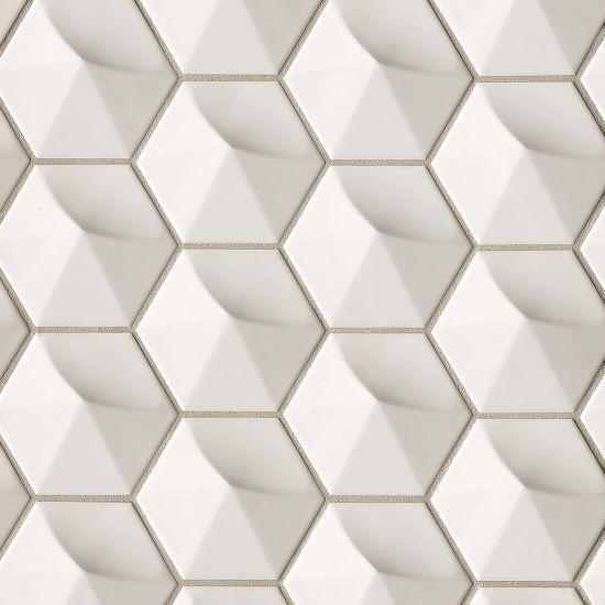 Hedron Fog Glossy 4x5 Ceramic  Tile