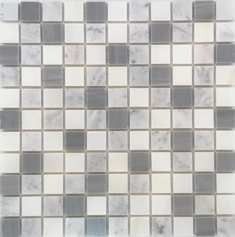Stone Mosaic Carrara White And Bardiglio Gry 1x1 Brick Polished Marble