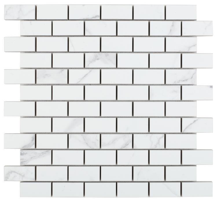 Carrara Premium 1x2 Brick Matte Porcelain  Mosaic