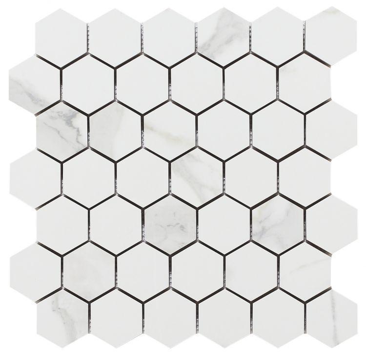 Calacatta Dorado 2x2 Hexagon Polished, Glazed Porcelain  Mosaic