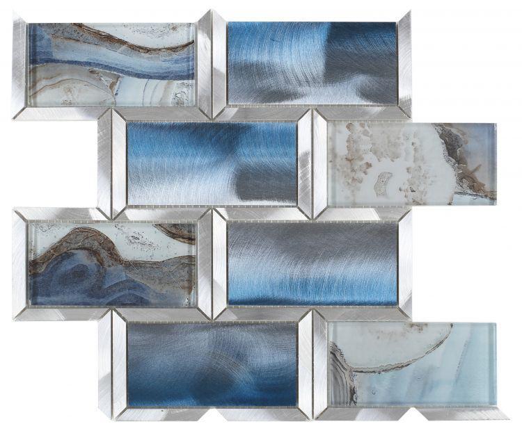 Shell Blue Subway  Glass  Mosaic