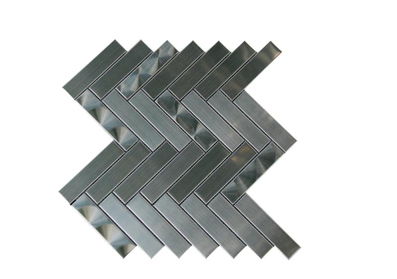 Stainless Steel Mosaics Phoenix Hb Ygs072-1 Arrowhead 1x4 Herringbone Textured   Mosaic (Discontinued)