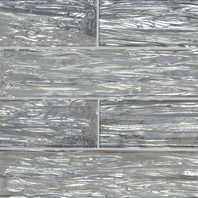 Backsplash Wall Tile Decorative Mosaics Chilcott Shimmer 3x12, Glossy, Blue, Glass