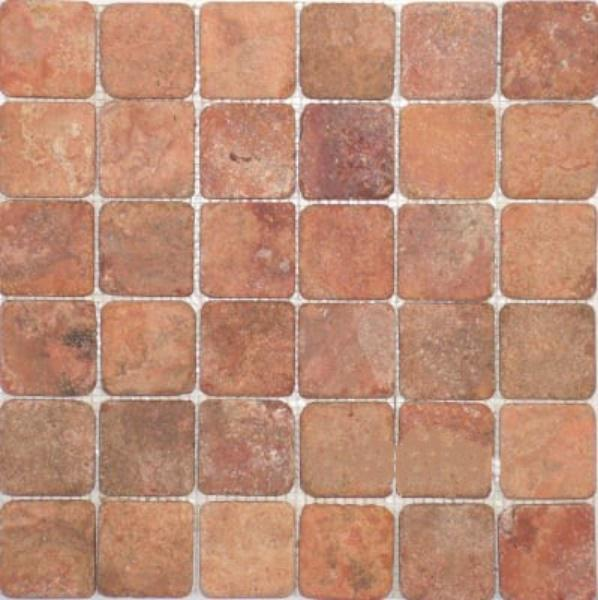 Red Travertine 1x1 Square Tumbled   Mosaic