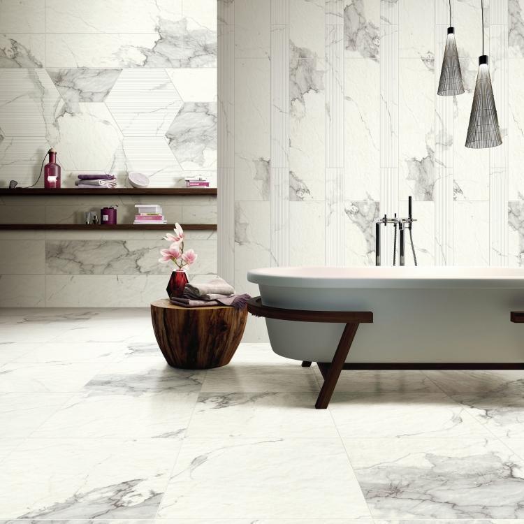 Carrara Premium Stone Glazed, Textured 24x48 Porcelain  Tile
