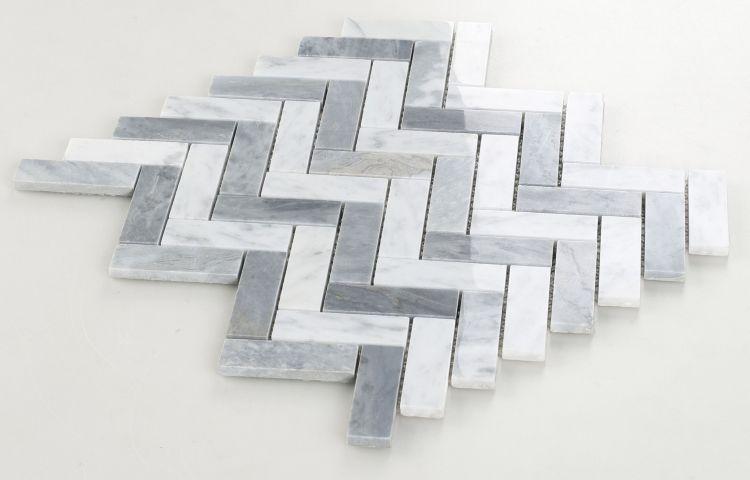 Chevron Herringbone Long Loft Polished Marble  Mosaic