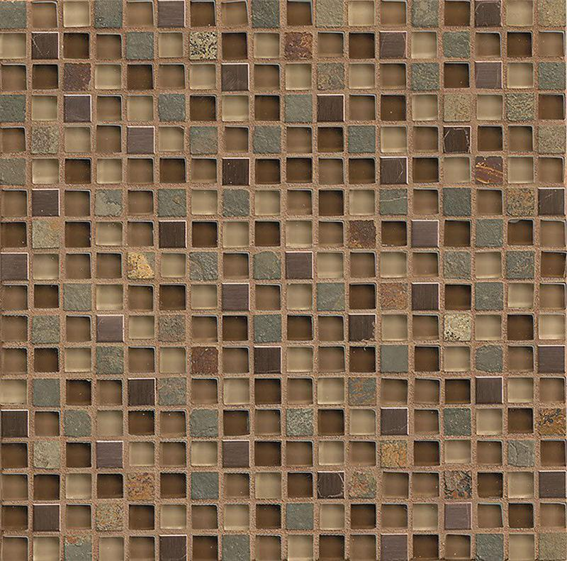 Elume Chestnut 0.63x0.63 Square Glossy Glass  Mosaic (Discontinued)