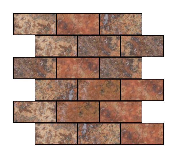 Red Travertine 2x4 Brick Tumbled   Mosaic