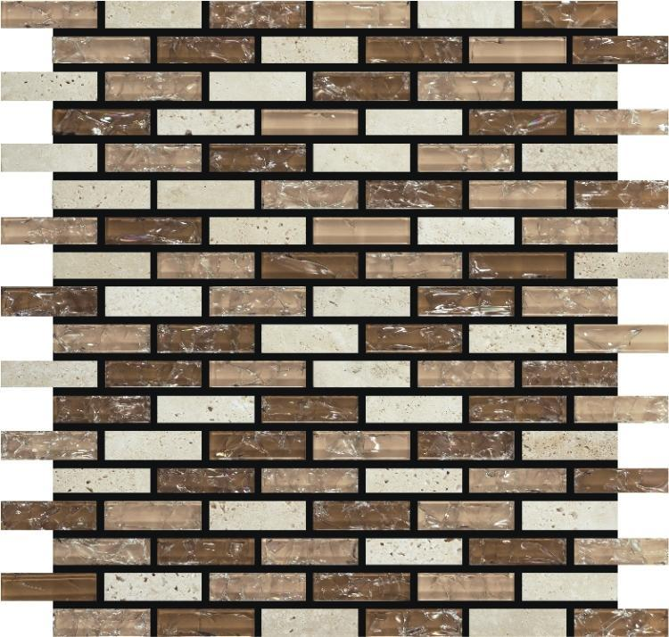 Icy Beige Stack  Glass  Mosaic