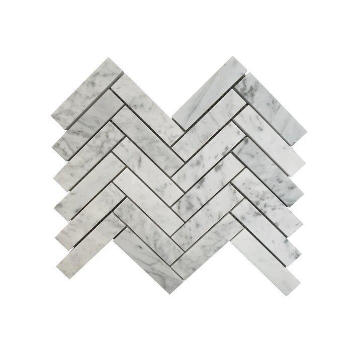 Stone Mosaic Carrara 1x4 Herringbone Polished Marble