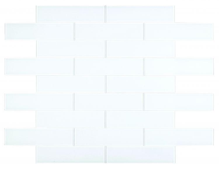 Large Glass Tile Lucy White Subway Glossy   Mosaic