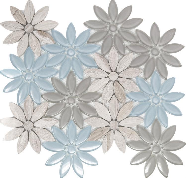 Daisy Sky Glass  Mosaic