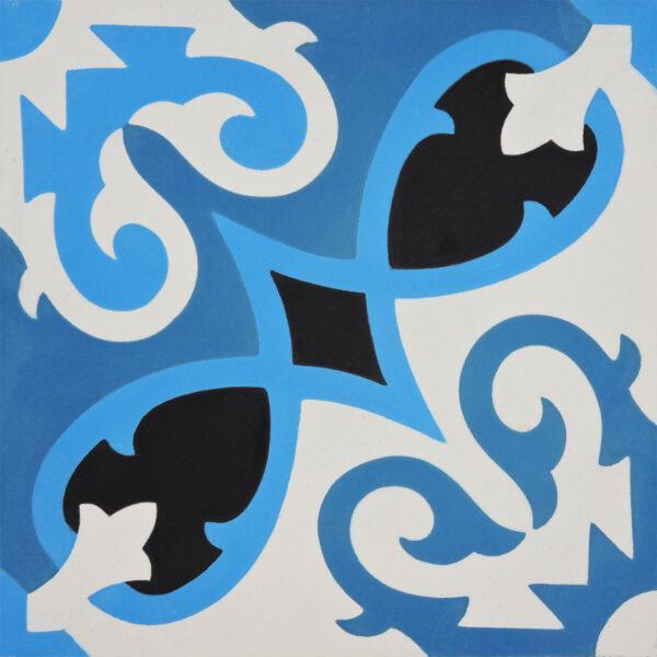Agadir Blue Black 8x8, Unpolished, Multi-Color, Square, Cement, Tile