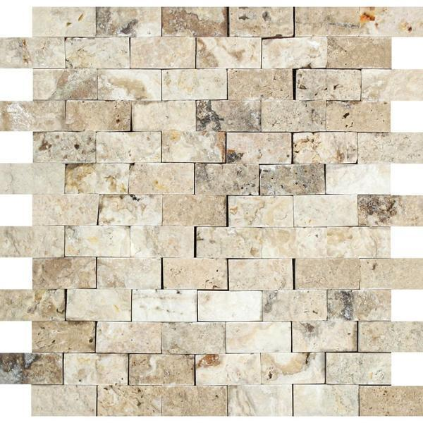 Philadelphia 1x2 Brick Split-Face Travertine  Mosaic