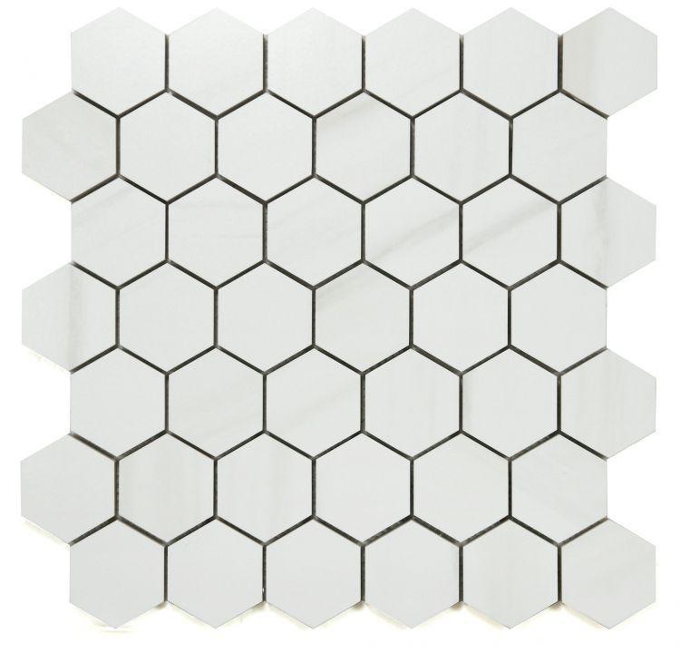 Dolomite Premium 2x2 Hexagon Matte, Glazed Porcelain  Mosaic