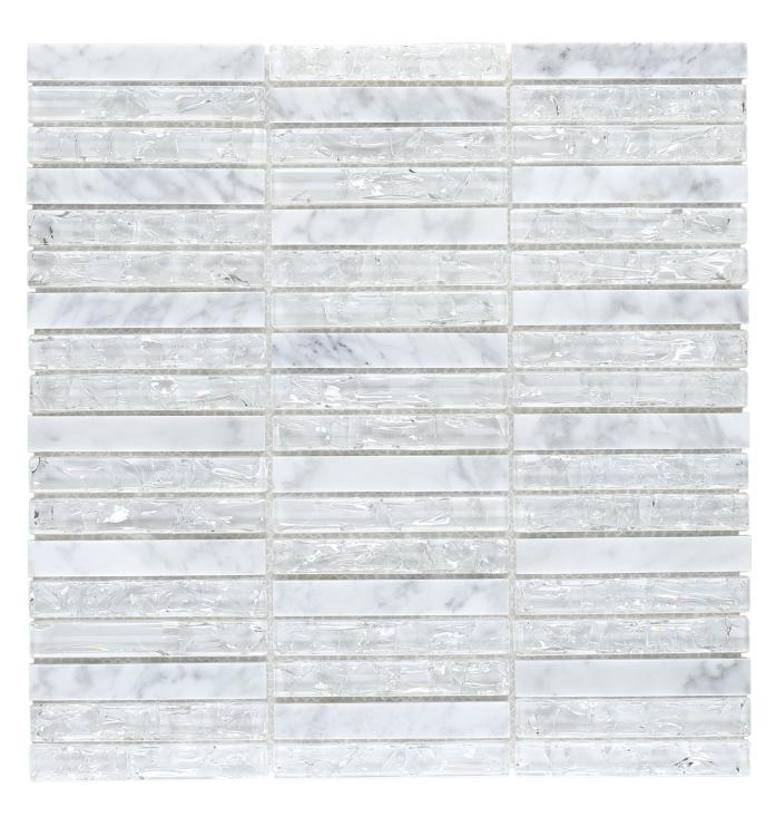 Icy Band Linear  Glass  Mosaic