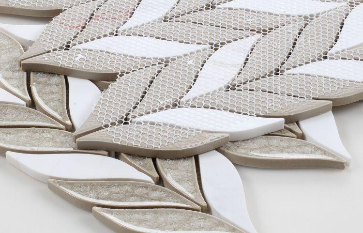 Leaf Grey Glass  Mosaic